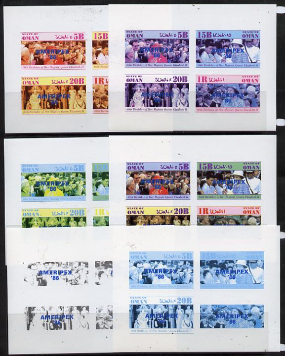 Oman 1986 Queen's 60th Birthday imperf set of 4 with AMERIPEX opt in blue (1R value shows Cub-Scouts in crowd) set of 6 progressive proofs comprising single & composite combinations incl completed design unmounted mint