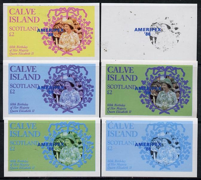 Calve Island 1986 Queen's 60th Birthday imperf deluxe sheet (\A32 value with Cub-Scouts in crowd) with AMERIPEX opt in blue, set of 6 imperf progressive proofs comprising single & composite combinations incl completed design unmounted mint