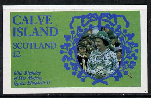 Calve Island 1986 Queen's 60th Birthday imperf deluxe sheet (�2 value with Cub-Scouts in crowd) unmounted mint, stamps on scouts, stamps on royalty, stamps on 60th birthday