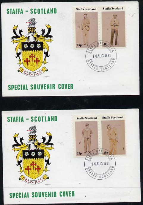 Staffa 1981 Golfers perf set of 4 values on two covers with first day cancels