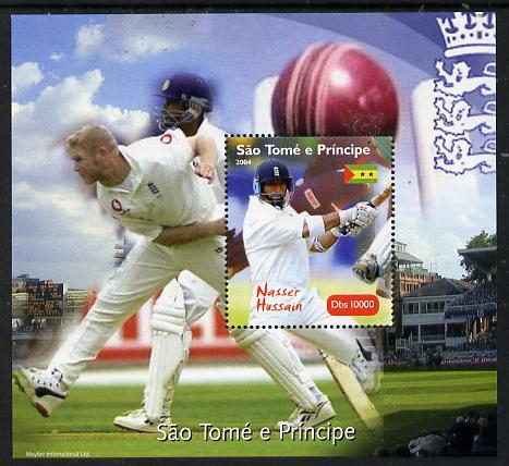 St Thomas & Prince Islands 2004 Cricket - Nasser Hussain perf souvenir sheet unmounted mint. Note this item is privately produced and is offered purely on its thematic appeal