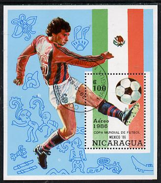 Nicaragua 1986 Football World Cup Championships (2nd issue) m/sheet cto used, SG MS 2738