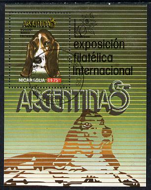 Nicaragua 1985 'Argentina 85' Stamp Exhibition (Basset-Hound) m/sheet cto used, SG MS 2683
