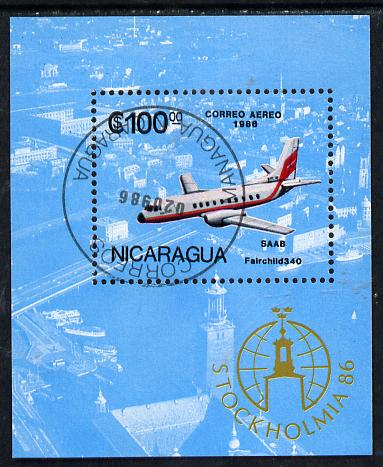 Nicaragua 1986 'Stockholmia 86' Stamp Exhibition (Saab Aeroplane) m/sheet cto used, SG MS 2790, stamps on aviation, stamps on saab, stamps on stamp exhibitions