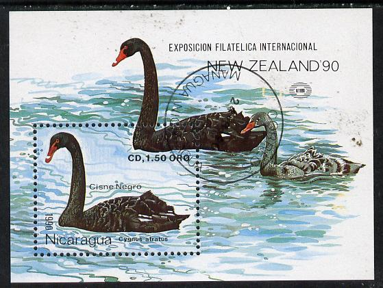 Nicaragua 1990 New Zealand 1990 Stamp Exhibition (Black Swan) m/sheet cto used, SG MS 3078
