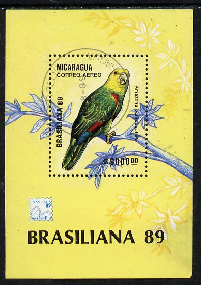 Nicaragua 1989 'Brasiliana 89' Stamp Exhibition (Parrot) m/sheet cto used, SG MS 3067, stamps on , stamps on  stamps on parrot    birds, stamps on  stamps on stamp exhibitions