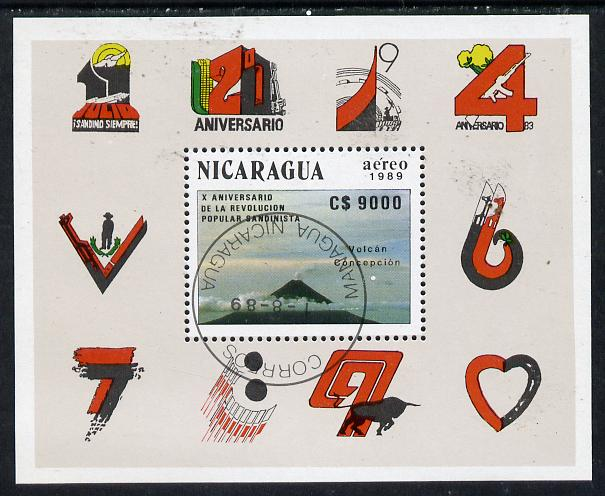 Nicaragua 1989 10th Anniversary of Revolution (Volcano) m/sheet cto used, SG MS 3069