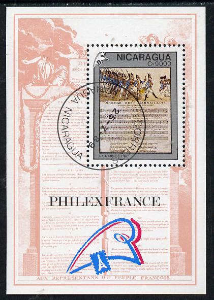 Nicaragua 1989 'Philexfrance 89' Stamp Exhibition (French Revolution & Music score) m/sheet cto used, SG MS 3053