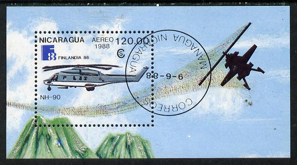 Nicaragua 1988 'Finlandia 88' Stamp Exhibition (Helicopters) m/sheet cto used, SG MS 2978