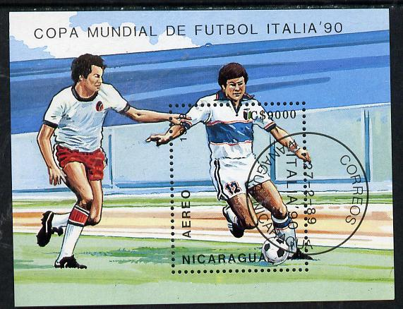 Nicaragua 1990 Football World Cup Championships m/sheet cto used, SG MS 3118