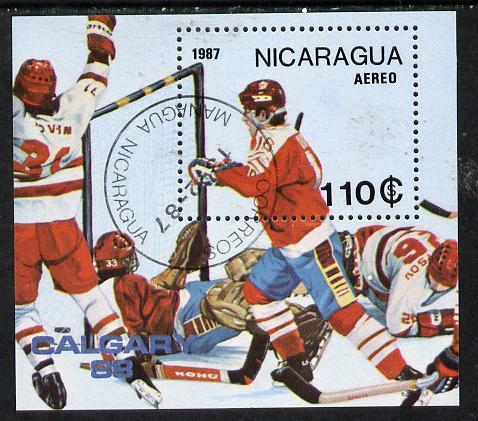Nicaragua 1987 Winter Olympics (Ice-Hockey) m/sheet cto used, SG MS 2833