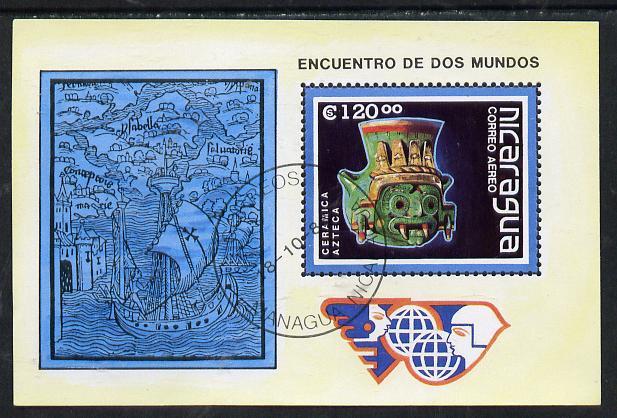 Nicaragua 1988 Discovery of America (Pre-Columbrian Art & Santa Maria) m/sheet cto used, SG MS 3010