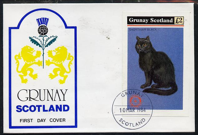 Grunay 1984 Rotary - Domestic Cats imperf deluxe sheet (\A32 value) on cover with first day cancel