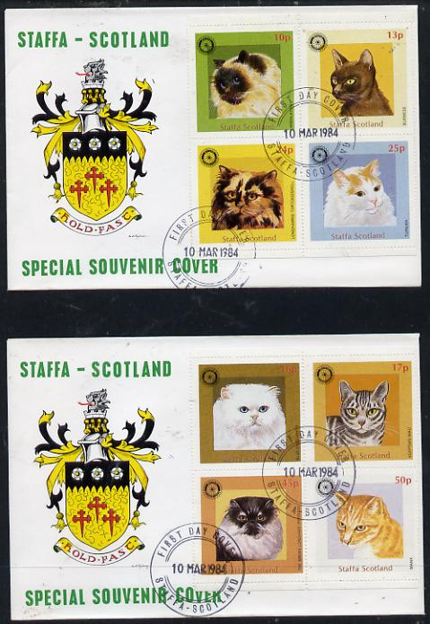 Staffa 1984 Rotary - Domestic Cats perf set of 8 values (10p to 50p) on two covers with first day cancels