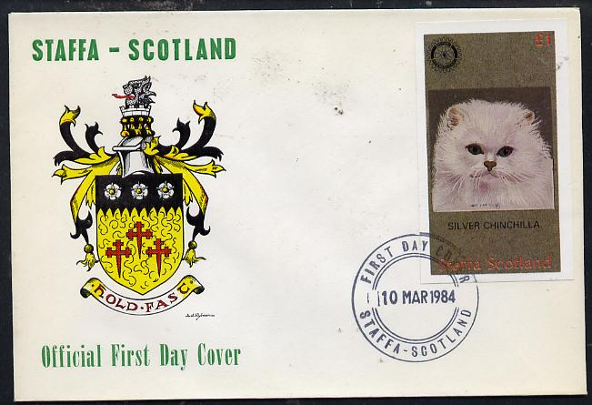Staffa 1984 Rotary - Domestic Cats imperf souvenir sheet (\A31 value) on cover with first day cancel