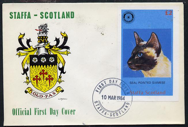 Staffa 1984 Rotary - Domestic Cats imperf deluxe sheet (\A32 value) on cover with first day cancel