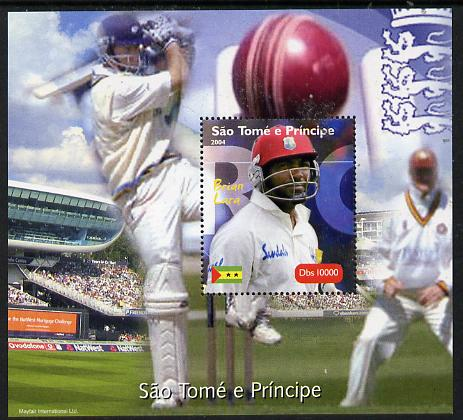 St Thomas & Prince Islands 2004 Cricket - Brian Lara perf souvenir sheet unmounted mint. Note this item is privately produced and is offered purely on its thematic appeal