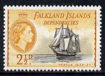 Falkland Islands Dependencies 1954-62 Ships 2.5d Penola unmounted mint, SG G30, stamps on ships