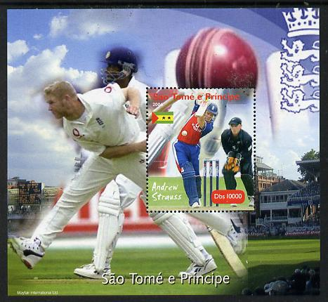 St Thomas & Prince Islands 2004 Cricket - Andrew Strauss perf souvenir sheet unmounted mint. Note this item is privately produced and is offered purely on its thematic appeal