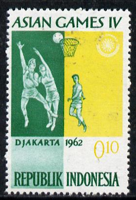 Indonesia 1962 Basketball 10s (from Asian Games set) unmounted mint SG 903