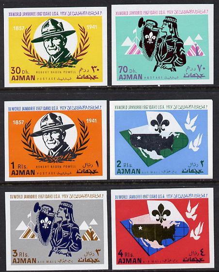 Ajman 1967 Scouts imperf set of 6 unmounted mint (Mi 182-7B)