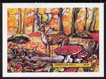 Azerbaijan 1995 Fungi m/sheet (with Deer) unmounted mint