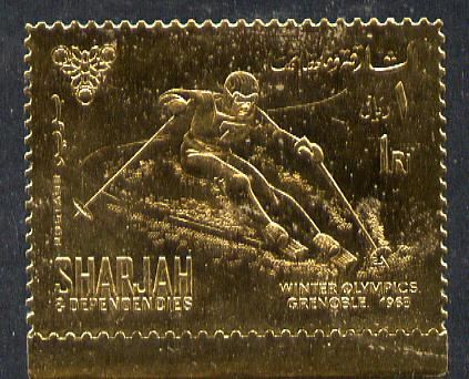 Sharjah 1968 Winter Olympics 1r (Skiing) perf embossed in gold foil, unmounted mint Mi 464A