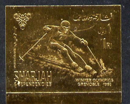 Sharjah 1968 Winter Olympics 1r (Skiing) imperf embossed in gold foil unmounted mint, Mi 464B