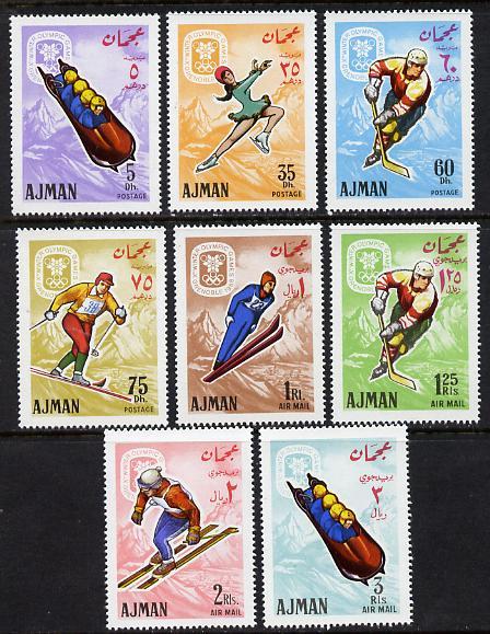 Ajman 1967 Grenoble Winter Olympics set of 8 (Mi 199-206A) unmounted mint