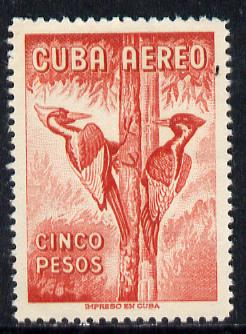 Cuba 1956 Woodpecker 5p red (from Air set) unmounted mint SG 782