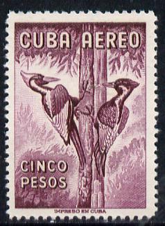 Cuba 1956 Woodpecker 5p purple (from Air set) unmounted mint SG 786