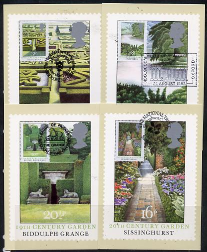 Great Britain 1983 British Gardens set of 4 PHQ cards with appropriate stamps each very fine used with first day cancels