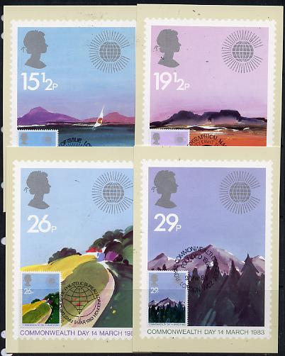 Great Britain 1983 Commonwealth Day (Geographical Regions) set of 4 PHQ cards with appropriate stamps each very fine used with first day cancels