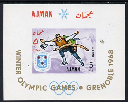 Ajman 1967 Winter Olympics imperf m/sheet unmounted mint (Mi BL 18)