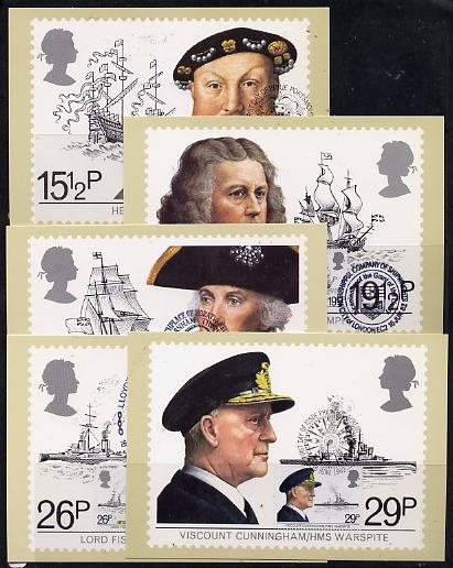 Great Britain 1982 Maritime Heritage set of 5 PHQ cards with appropriate stamps each very fine used with first day cancels