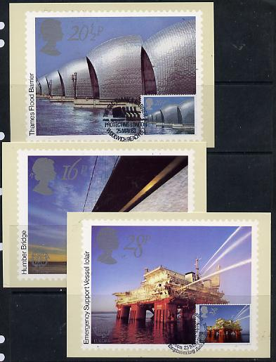 Great Britain 1983 Europa - Engineering Achievements set of 3 PHQ cards with appropriate stamps each very fine used with first day cancels