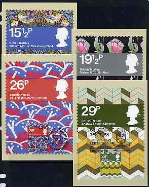Great Britain 1982 British Textiles set of 4 PHQ cards with appropriate stamps each very fine used with first day cancels