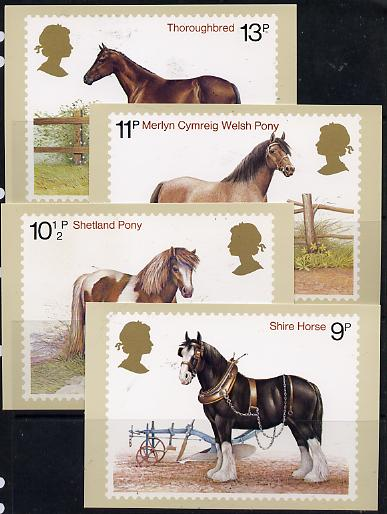 Great Britain 1978 Horses set of 4 PHQ cards unused and pristine