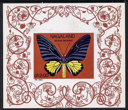 Nagaland 1971 Butterfly (Helena Birdwing) imperf Miniature sheet (2ch value) unmounted mint