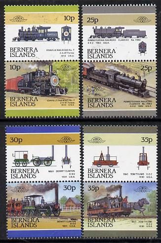 Bernera 1981 Locomotives #1 perf set of 8 (4 se-tenant pairs) unmounted mint