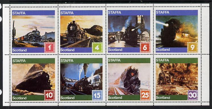 Staffa 1978 Paintings of Steam Locos perf  set of 8 values (1p to 30p) unmounted mint