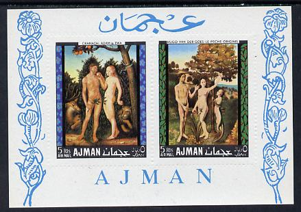 Ajman 1968 Adam & Eve Paintings perf m/sheet unmounted mint, Mi BL 41A), stamps on arts    nudes      oldt, stamps on judaica