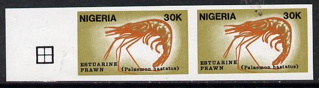 Nigeria 1988 Shrimps 30k unmounted mint imperf pair (as SG 563)*