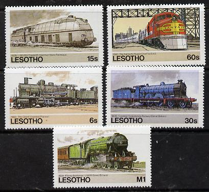 Lesotho 1984 Railways of the World set of 5 unmounted mint, SG 605-609*
