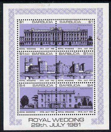 Barbuda 1981 Royal Wedding (Buildings) sheetlet containing set of 3 with lavender background (SG 566a) unmounted mint, stamps on royalty, stamps on diana, stamps on charles, stamps on    buildings