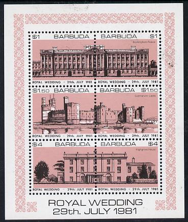 Barbuda 1981 Royal Wedding (Buildings) sheetlet containing set of 3 with rose-pink background (SG 566a) unmounted mint, stamps on royalty, stamps on diana, stamps on charles, stamps on    buildings