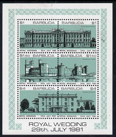 Barbuda 1981 Royal Wedding (Buildings) sheetlet containing set of 3 with turquoise-green background (SG 566a) unmounted mint, stamps on royalty, stamps on diana, stamps on charles, stamps on    buildings