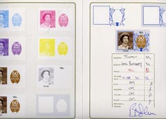 Tuvalu 1986 Queen's 60th Birthday 90c set of 11 imperf progressive proofs comprising the 6 individual colours plus various composites mounted in special Format International folder (11 se-tenant proof pairs as SG 382)