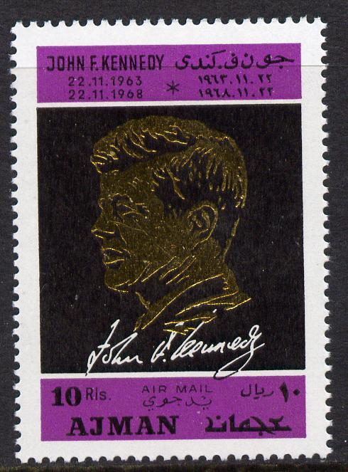 Ajman 1968 Death Anniversary of Kennedy 1 value perf unmounted mint, Mi 325A