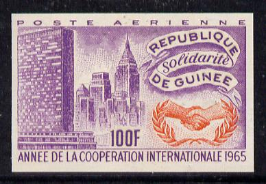 Guinea - Conakry 1965 International Co-operation Year 100f imperf proof in orange & violet on gummed paper, as SG 504